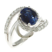 Ring Silver Pt900platinum Sapphire Diamond With Identification Book From Japan