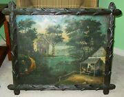 Antique Late 18th Century Oil On Tin Painting -river Scene Village----15589