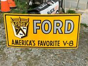 Ford V-8 X-large Heavy Porcelain Sign 46x 22 Near Mint Condition Nice