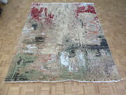 8 X 10 Hand Knotted Multi Colored Modern Abstract Oriental Rug With Silk G10480