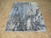 8 X 10 Hand Knotted Multi Colored Modern Abstract Oriental Rug With Silk G10463