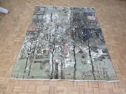 8 X 10 Hand Knotted Multi Colored Modern Abstract Oriental Rug With Silk G10478