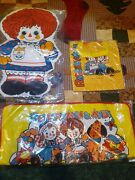 Vintage 1976 Raggedy Ann And Andy Lot Of 3 Cloth Tote Bag, Pillow And Shoe Rack