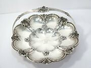 10.5 In - Sterling Silver Antique English Flower-shaped Engraved Griffin Basket