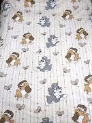 Vtg 70s Disney Lady And Tramp Sheet Fabric Bedding Curtain Dogs Kids Novelty