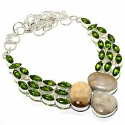 Fossil Coral Peridot Gemstone Silver Jewelry Necklace 18 Mqr-1889