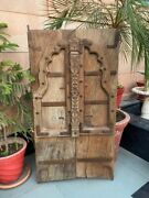 1800and039s Antique Wood Carved Iron Work Old Castle 43 X 24and039and039jharoka Arch Shape Door