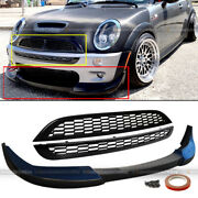 For 02-06 Mini Cooper S Unpainted Front Bumper Lip And 2 Pcs Jcw Style Mesh Grille