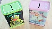 Two 2 Vintage Muppets Collectibles- Tin Banks - Kermit - Miss Piggy -mint Cond