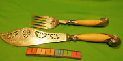 Antique English Solid Heavy Sterling Fish Knife And Fork Serving Set Fancy Cutout
