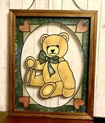 """Beautiful 16""""x 20"""" Wood Framed Vintage Stained Glass Teddy Bear Window Hanging."""