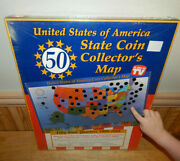 United States Of America 50 State Quarter Coin Display Map 1999-2008 Sealed Us