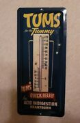 Tums Vintage Sign Thermometer. Very Good Condition. Sign Is 9x4.
