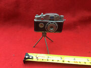 Vintage Miniature Camera Style Cigarette Lighter On Stand With Small Compass