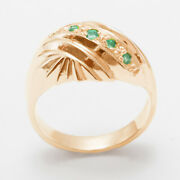 14ct Rose Gold Natural Emerald Womens Band Ring - Sizes J To Z