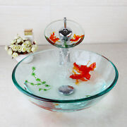 Us Oval Artistic Tempered Glass Vessel Vanity Sink Bowl Basin With Mixer Faucet