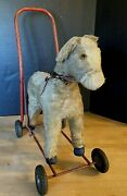 Antique Lines Bros Push Donkey Toy - Made In Ireland- Button Eyes