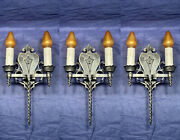 Set Of Three Antique Gothic Mission Double Candle Wall Sconces 113c