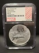 2017 1 Tuvalu Marvel Spiderman Ngc Ms70 First Releases 1oz .9999 Silver Coin