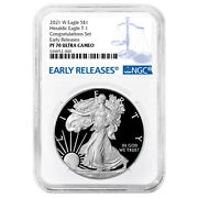 2021-w Proof 1 Type 1 American Silver Eagle Congratulations Set Ngc Pf70uc Blue