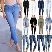 Womens High Waist Ripped Jeans Skinny Stretchy Jeggings Full Length Pencil Pants