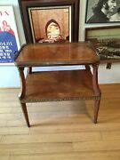 Antique Handmade 18th Century American Wooden Parquetry Tea Table With Brass Han