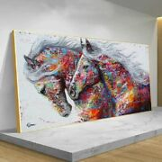 Colorful Two Running Horses Poster Canvas Painting Print Wall Art Pictures Room