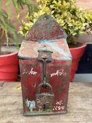 1800 Vintage Iron Hand Made Money Collecting Red Painted Rustic Donation Box