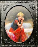 1950s French / Italian Impressionist Oil Painting Of Girl In Boudoir