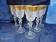 Czech Bohemia Crystal Glass - Cut Liquer Glasses 14cm Decorated Gold And Diarit