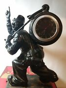 Clock Chimney Keeper Of Time Clown With A Clock In 1960. Iron Casting Casley