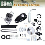New Convert Bicycle 2 Stroke 80cc Petrol Gas Motorized Engine Motor Parts Silver