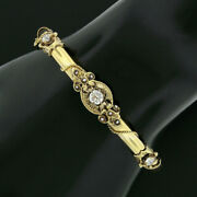 Antique Victorian 14k Gold Diamond Seed Pearl Twisted Wire Hinge Bangle Bracelet