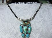 Navajo Ray Delgarito Pilot Mountain Turquoise Sterling Silver 20 Necklace 😍snd
