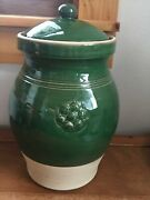 Rowe Pottery Works Marked Large Green Glazed Storm Jar Pot W Handle And Covered