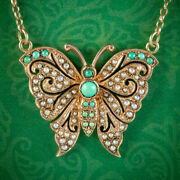 Vintage Turquoise Pearl Butterfly Lavaliere Pendant Necklace Dated 1976