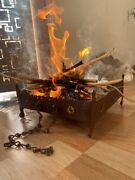 1700and039s Antique Iron Hand Crafted Indian Primitive Outdoor Wood Burning Fire Pit