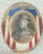 Rare Antique Oval Colored Portrait Wwi Military Soldier Eagle Flag For Liberty