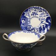 Set Of 6 Royal Crown Derby Blue Mikado Cream Soup Bowls And Saucers Ch6075