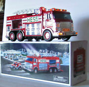 New In Box - Sound - Lights -hess 2005 Emergency Fire Truck With Rescue Vehicle