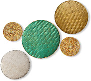 Round Woven Basket Wall Decor- Handmade Flat Bamboo Serving Tray Rattan Placemat