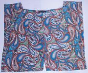 Ashley Stewart Woman Fiji Blue All Over Paisley Pants Skinny Legs Pick Your Size