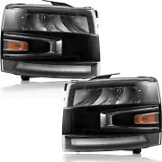Vland For Chevy Silverado 07-13 Full Led With Drl Triple Reflector Headlights