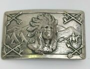 Robbins Silver American Indian Belt Buckle 1949 Relief 3d Rare Native Motorcycle