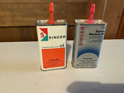 2 Vintage Singer Sewing Machine Oil Cans Handy Oiler Collectibleadvertising Tin