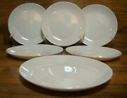 Set Of 6 - - 7 1/2 White Glossy Front / Satin Back Salad Plates - Mint