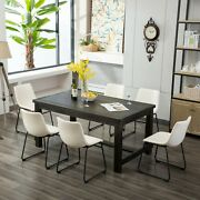 Roundhill Lotusville 7-piece Antique Black Finish Wood Dining Table With 6 White