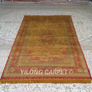 Yilong 5and039x8and039 Handwoven Silk Carpet Gold Vintage Living Room Indoor Rug Mc331b