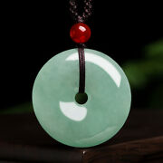 China Certified Natural Grade A Light Waxy Ice Jadeite Ping An Buckle Pendant
