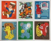 Vintage Playskool Pressed Wood Tray Puzzles Lot Of 6 - Made In Usa - Pre-owned